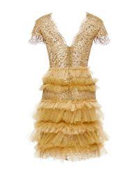 Marchesa Metallic Leopard Lace Ruffle Dress