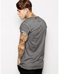 ASOS Gray Longline T-Shirt With Oil Wash Skater Fit for men