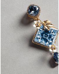 Dolce & Gabbana - Blue Majolica Earrings - Lyst