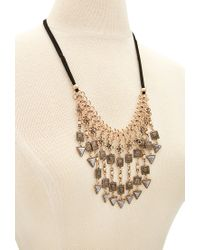 Forever 21 - Black Etched Faux Stone Statement Necklace - Lyst