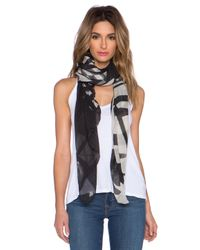 Marc By Marc Jacobs Black Drippy Plaid Scarf