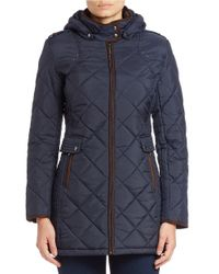 Weatherproof Blue Quilted Faux Fur-lined Coat