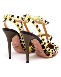 Valentino | Brown 'rockstud' Leopard Pumps | Lyst