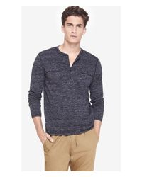 Express | Black Heathered Two Pocket Long Sleeve Henley Tee for Men | Lyst