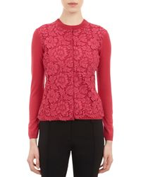 Valentino | Red Lace-Front Cardigan | Lyst