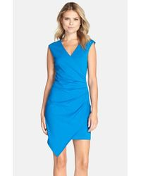 Adelyn Rae | Blue Ruched Asymmetrical Stretch Cotton Minidress | Lyst