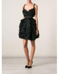 Lanvin - Black Ostrich Feather Shift Dress - Lyst