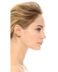 Lady Grey Metallic Lattice Lobe Clip On Earrings