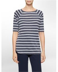 Calvin Klein - Blue White Label Performance Striped High Low Short Sleeve Top - Lyst