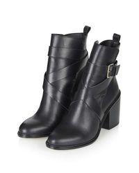 TOPSHOP - Black Halston Buckle Boots - Lyst