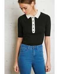 Forever 21 - Black Buttoned Collar Sweater - Lyst