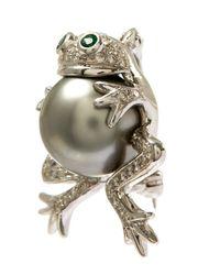 Kojis - Metallic White Gold Tahitian Pearl Frog Diamond Brooch - Lyst
