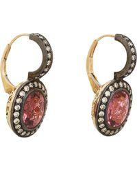 Munnu | Pink Sapphire Diamond Drop Earrings | Lyst