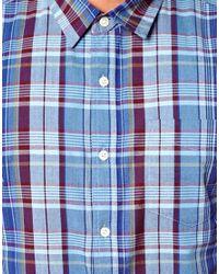 ASOS | Blue Check Shirt In Long Sleeve for Men | Lyst