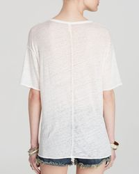 Free People White Tee - All Tore Up Graphic