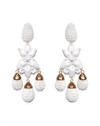 Oscar de la Renta - White Beaded Star Drop Earrings - Lyst