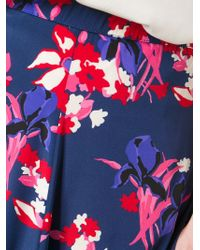 P.A.R.O.S.H. - Blue Floral Print Maxi Skirt - Lyst