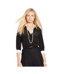 Ralph Lauren - Black Silk Crepe Button-down Shirt - Lyst