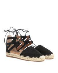 Aquazzura Black Belgravia Suede Espadrille Sandals