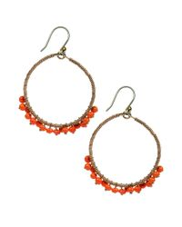 Lucky Brand - Metallic Goldtone Orange Bead Hoop Earrings - Lyst