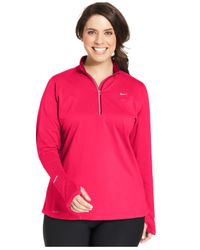 Nike | Pink Plus Size Element Long-sleeve Dri-fit Half-zip Top | Lyst