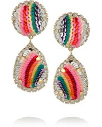Shourouk - Metallic Rainbow Gold-Plated, Swarovski Crystal And Sequin Clip Earrings - Lyst