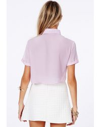 Missguided - Purple Joi Lilac Cropped Shirt - Lyst