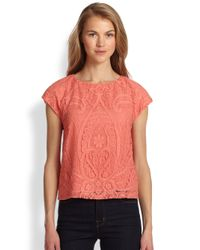 Alice + Olivia Pink Boxy Lace Top