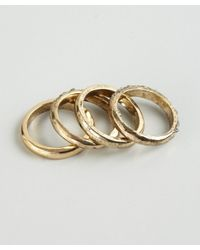 Adia Kibur - Metallic Set Of Four Distressed Gold Metal and Crystal Stackable Rings - Lyst