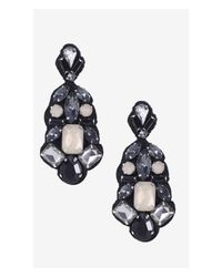 Express | Black Multi Stone Fabric Back Drop Earrings | Lyst