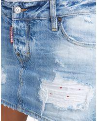 DSquared² | Blue California Low Waist Skirt | Lyst