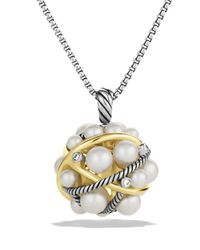 David Yurman Metallic Pearl Crossover Small Cluster Pendant With Diamonds And Gold On Chain