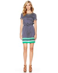 Michael Kors | Green Michael Printed Satin Drawstring Dress | Lyst