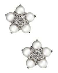 Nadri Metallic Pearl And Sparkle Flower Stud Earrings
