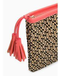 Violeta by Mango Black Tassel Ethnic Cosmetic Bag