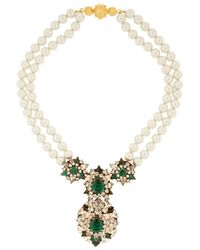 Shourouk | Green Swan Goldplated Swarovski Crystal and Faux Pearl Necklace | Lyst
