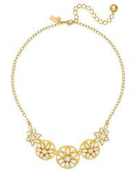 kate spade new york - Metallic Gold-tone White Epoxy Bead Floral Necklace - Lyst