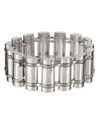 Lauren by Ralph Lauren   Metallic Deco 7 12 Metal Cylinder with Rib Detail with Box and Tongue Closure Bracelet   Lyst
