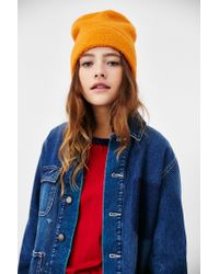 BDG Orange Camp Fleece Stand Up Beanie
