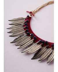 Missguided | Natural Woven Leaf Detail Necklace | Lyst