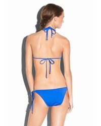 MILLY - Blue Solid Tulum Bikini Top - Lyst