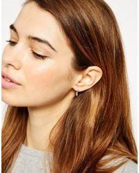 ASOS - Metallic Sterling Silver 9mm Spike Hoop Earrings - Lyst