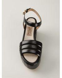 Ferragamo Black Ribbed Platform Sandals