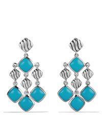 David Yurman | Blue Sculpted Cable Chandelier Earrings With Turquoise | Lyst