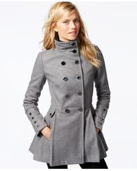 Calvin Klein | Gray Stand-collar Pleated Peacoat | Lyst
