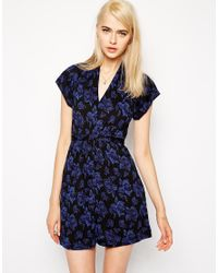 French Connection - Blue Confetti Grid Jersey Dress - Lyst