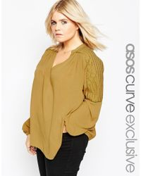 ASOS | Yellow Curve 70's Lace Front Tunic Top With Embroidery | Lyst