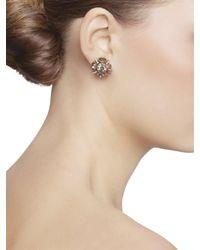 Oscar de la Renta - Metallic Crystal Button Earrings - Lyst
