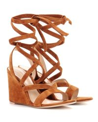Gianvito Rossi Brown Suede Wedge Sandals