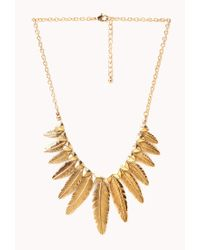 Forever 21 Metallic Etched Feather Necklace
